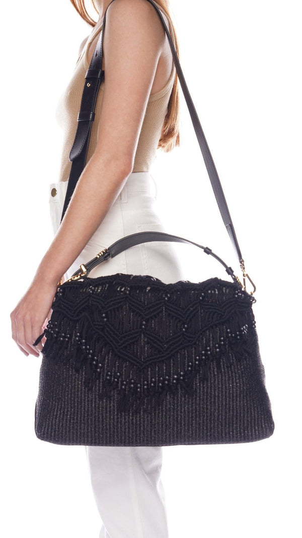 Alberta Ferretti Dori Black Rafia Beaded Shoulder Bag