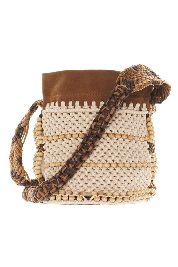 Alberta Ferretti Brown Beaded Crochet Bucket Bag