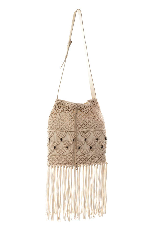 Alberta Ferretti Beige Crochet Tasseled Shoulder Bag