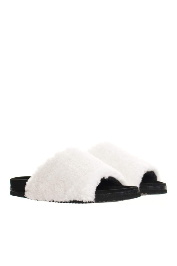 ROAM White Faux Shearling Fuzzy Sliders