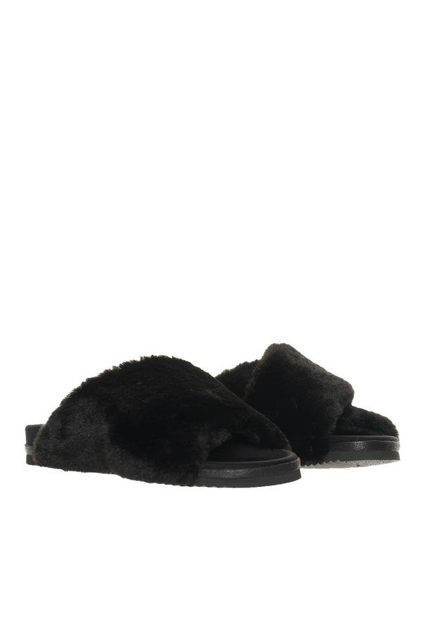 ROAM Mini Cloud Black Faux Shearling Slides