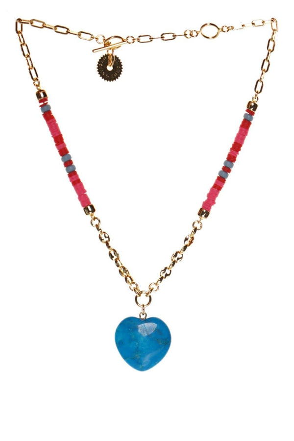 Mignonne Gavigan Raeni Beaded Turquoise Heart Charm Necklace
