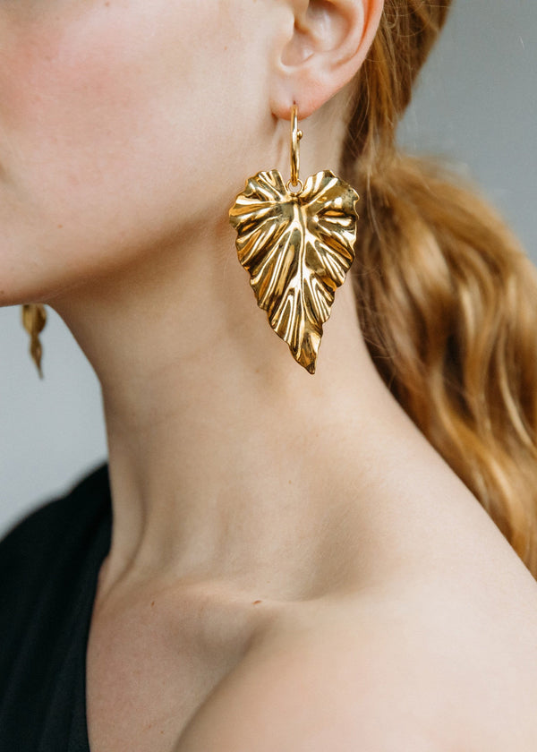 Jennifer Behr - Frond Gold Hoop Earrings
