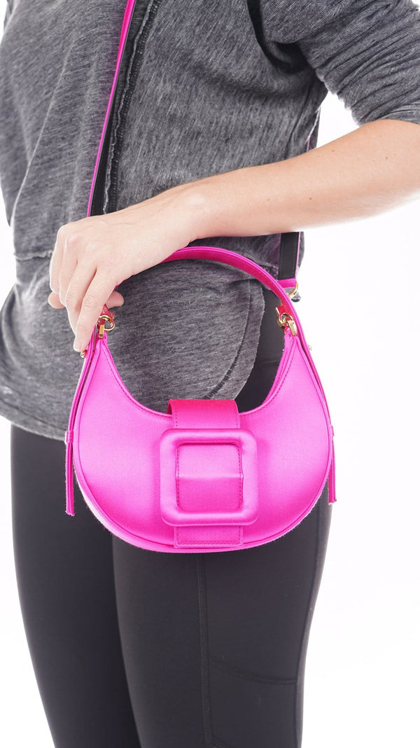 Les Petits Joueurs Cindy Buckle Bag Magic Pink Satin