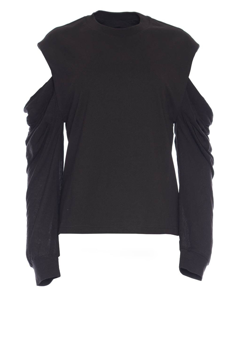 Capucine Cutout-Sleeve Black Sweater