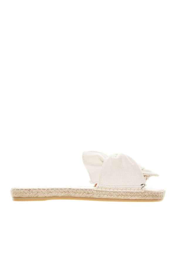 Yucatán White Linen Bow Flat Sandals