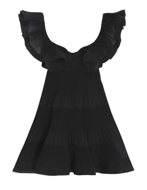 ZIMMERMANN - The Lovestruck Black Pleated Mini Dress