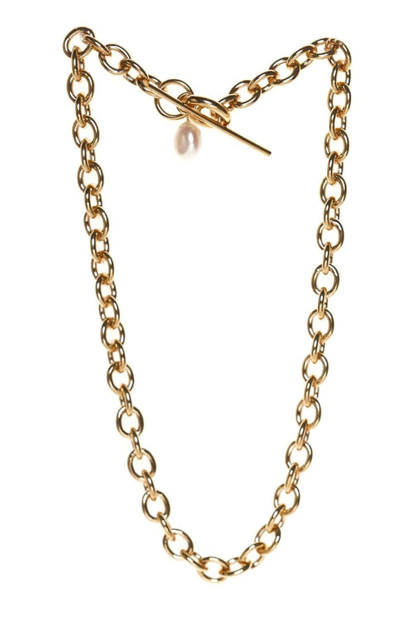 Loren Stewart XL Pearl & Toggle Gold Link Necklace