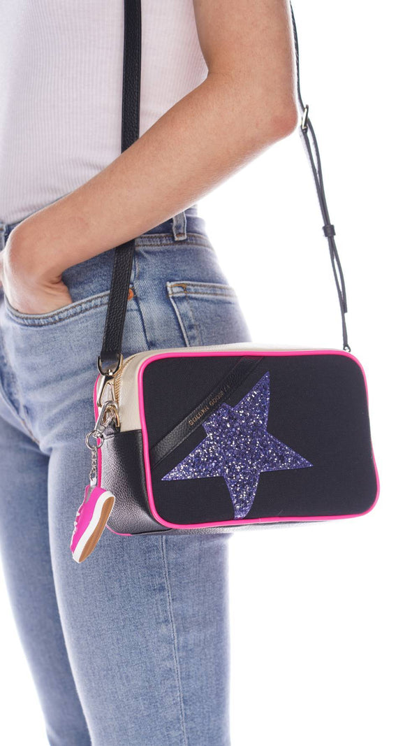 Logo Canvas Front Glitter Star Crossbody Bag
