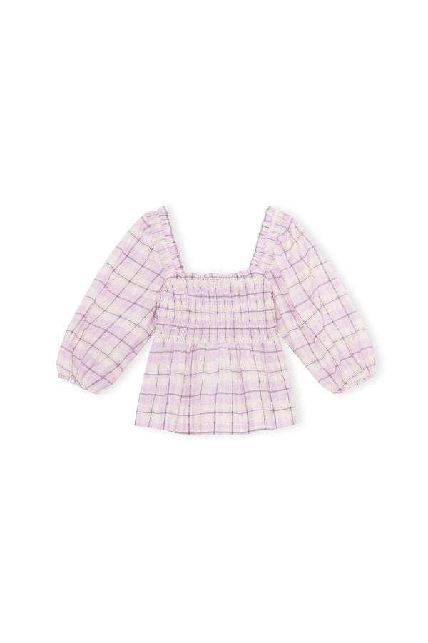 Smocked Seersucker Check Puff Sleeve Blouse