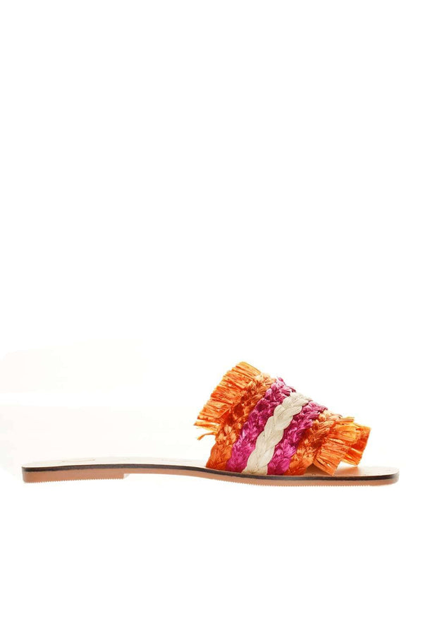 Manebi Yucatán Orange Rose Cream Fringed Sandals