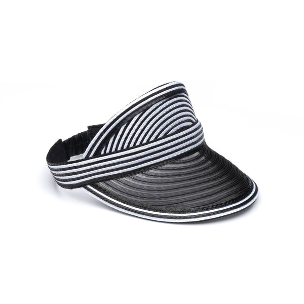 Eugenia Kim Vicky Black & Ivory Striped Visor