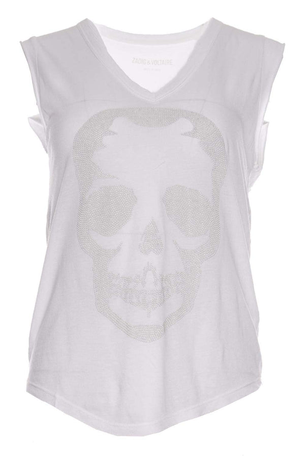 Brooklyn Strass White Skull Tank Top