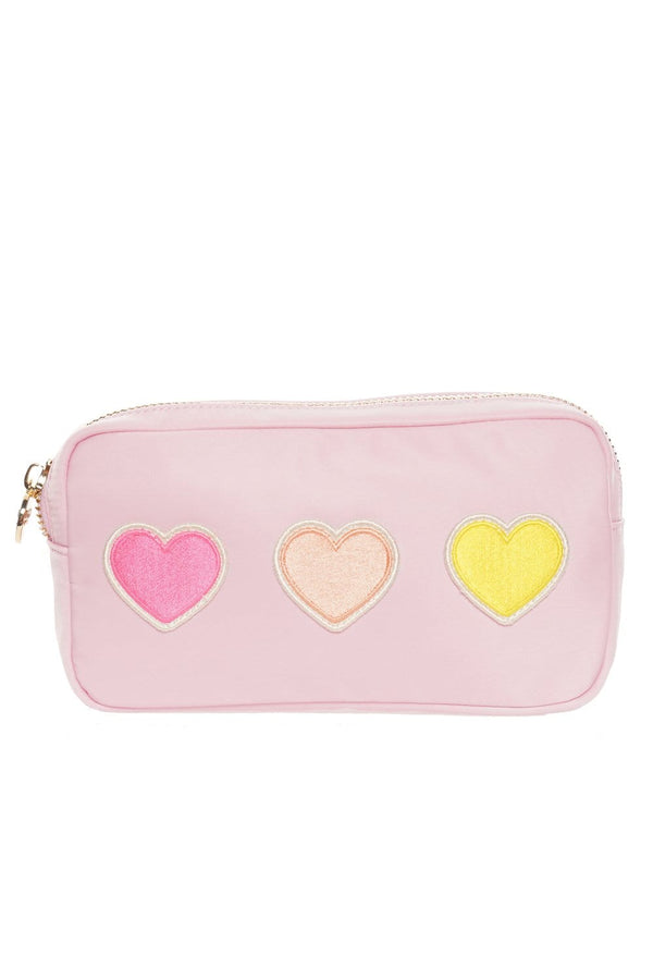 Stoney Clover Lane - Flamingo Small Pouch With Rolled Embroidered Heart Patches