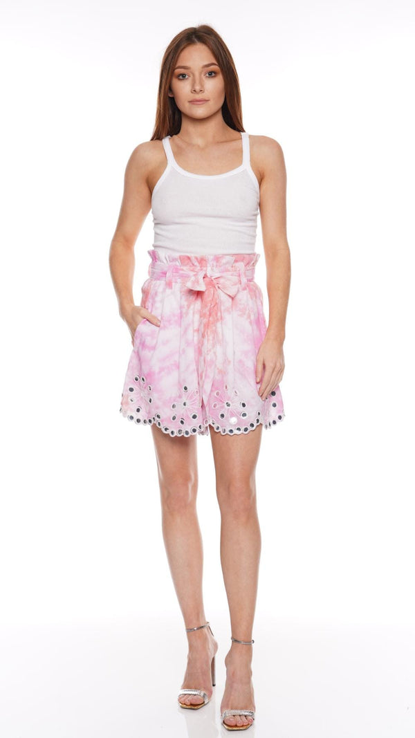 JULIET DUNN - Paper Bag Tie Dyed Cotton Shorts