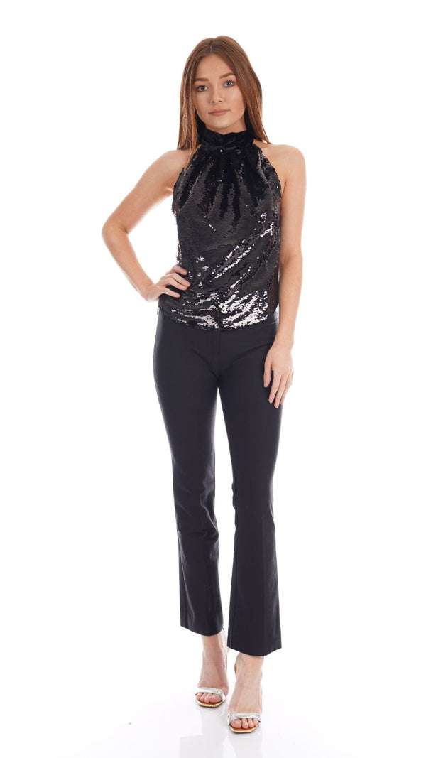 Harmur Panther Black Sequin Party Top