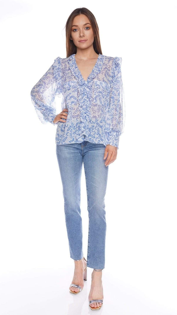 Sacha Blue Petals Long Sleeve Ruffled Top