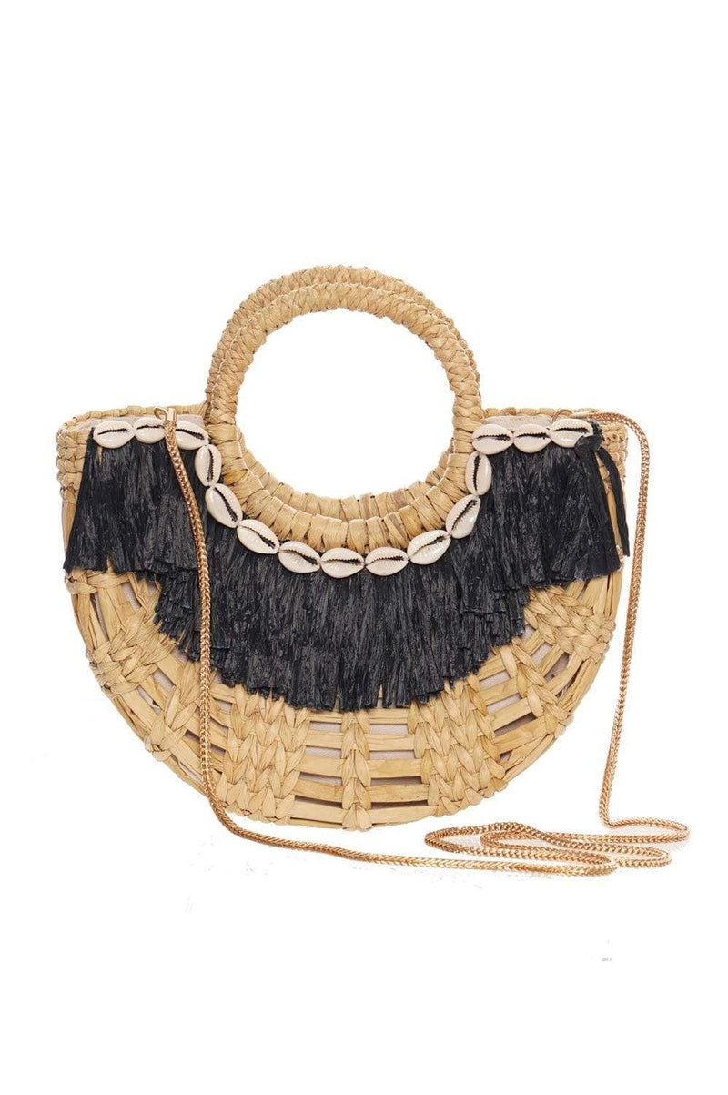 POOLSIDE Raffia Fringe Evening Bag With Chain