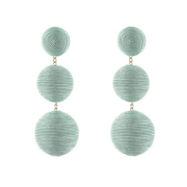 REBECCA DE RAVENEL - Classic Sea Foam Green 3 Drop Bon Bon Earrings