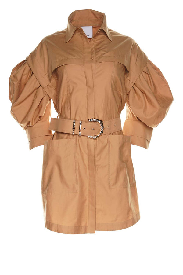 Kindsway Belted Puff Sleeve Shirt Dress