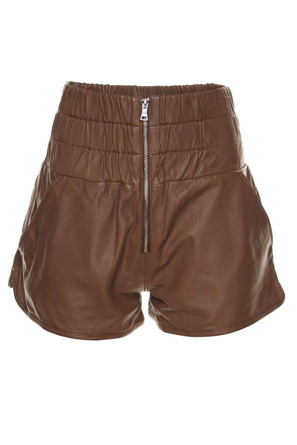 Marissa Webb Ali Cognac High Waisted Leather Jogger Shorts