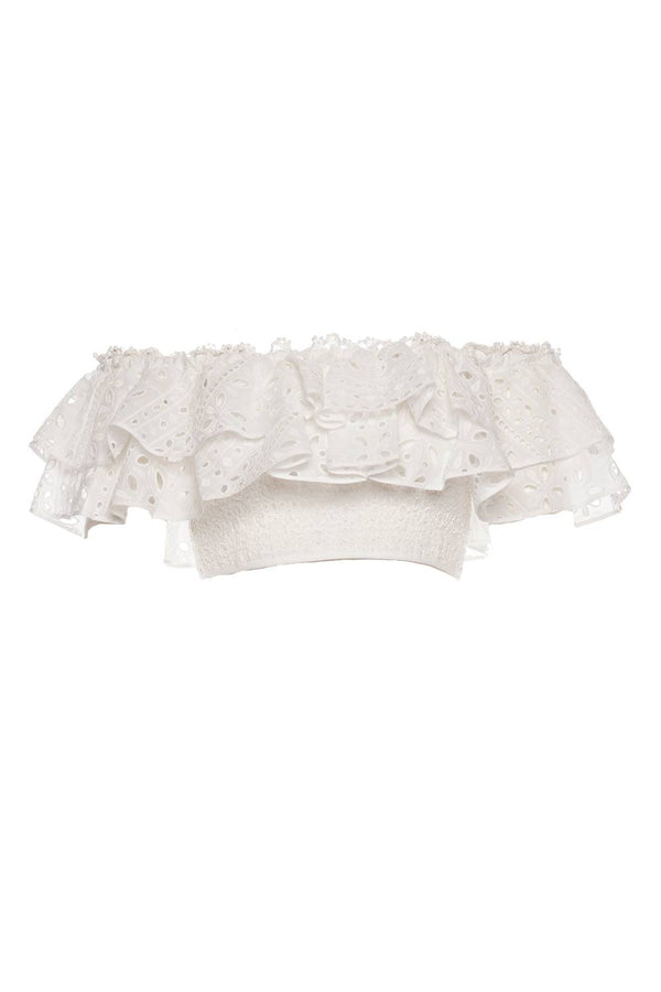 CHARO RUIZ IBIZA - Barbara White Embroidered Crop Top