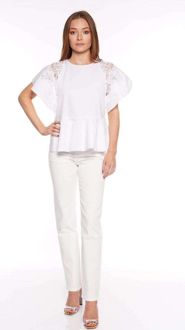 Lace-Inset White Cotton Poplin Top