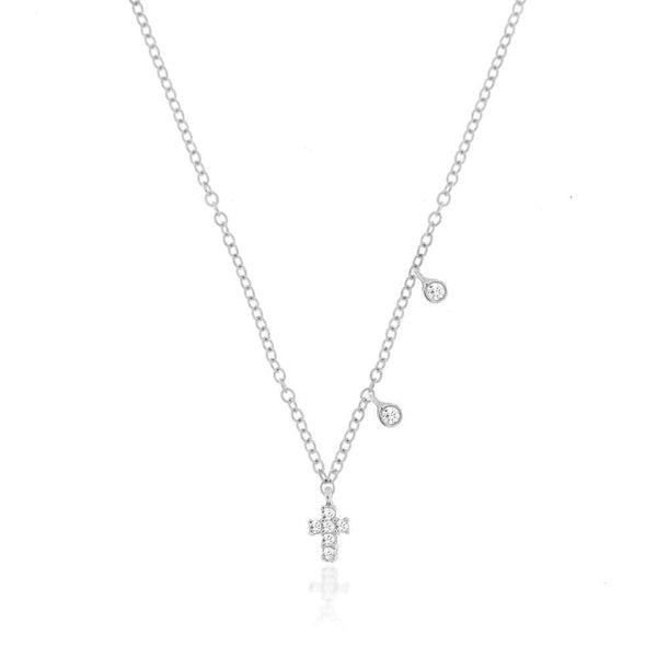 Meira T 14K White Gold Diamond Cross Necklace