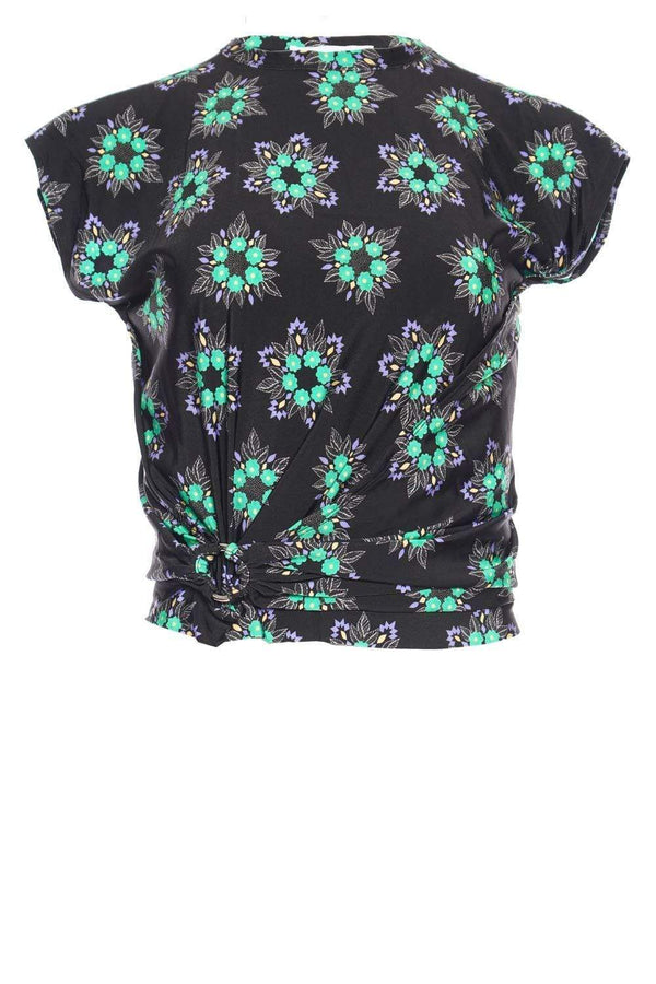 Black Geometrical Flower Stretch-Jersey Top