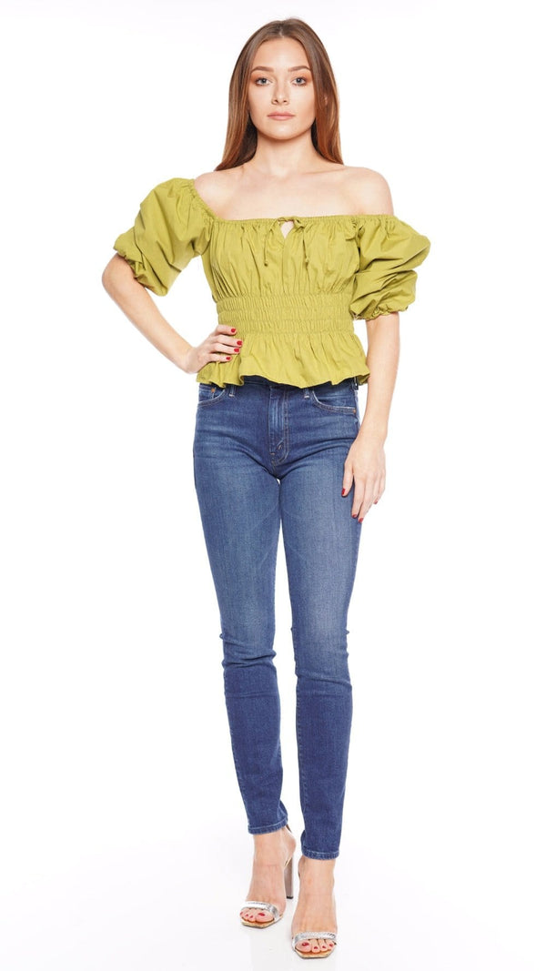Venetia Plain Olive Cotton Poplin Top