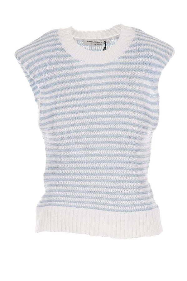 PHILOSOPHY DI LORENZO SERAFINI - Light Blue Sleeveless Cotton Blend Sweater