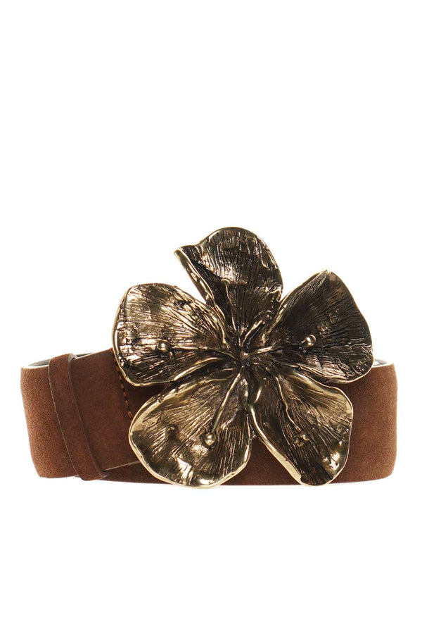 Hibiscus Brown Suede Leather Belt