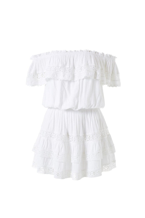 Melissa Odabash - Melody White Off Shoulder Mini Beach Dress
