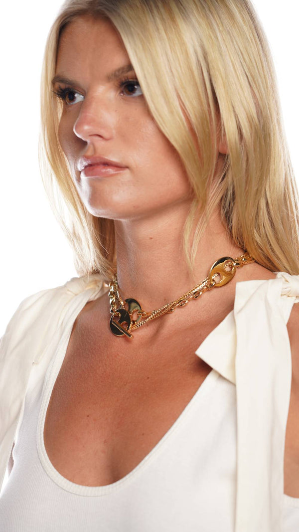 Paco Rabanne Eight Nano Long Gold Chain Link Neckalace