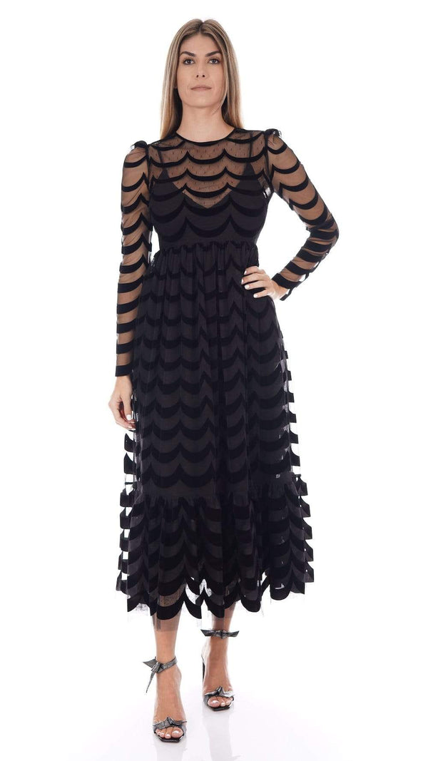 RED VALENTINO Black Point D'Esprit And Lace Long Sleeve Midi Dress