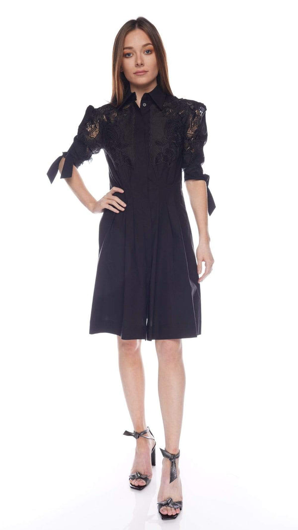 Lace-Inset Cotton Poplin Mini Shirt Dress
