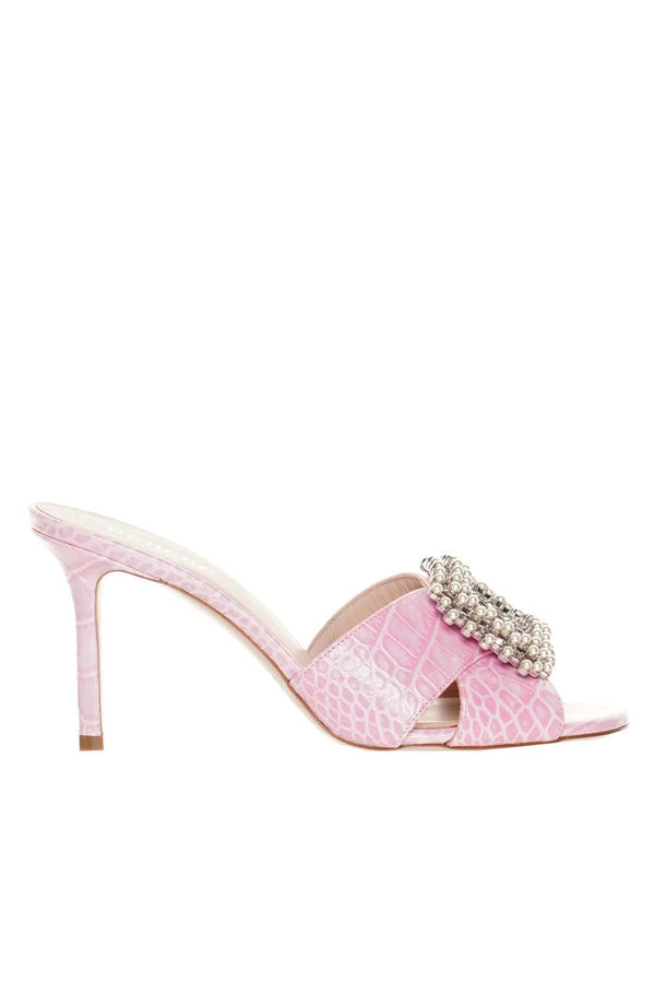 Coco Pink Crystal & Pearl Heeled Sandals