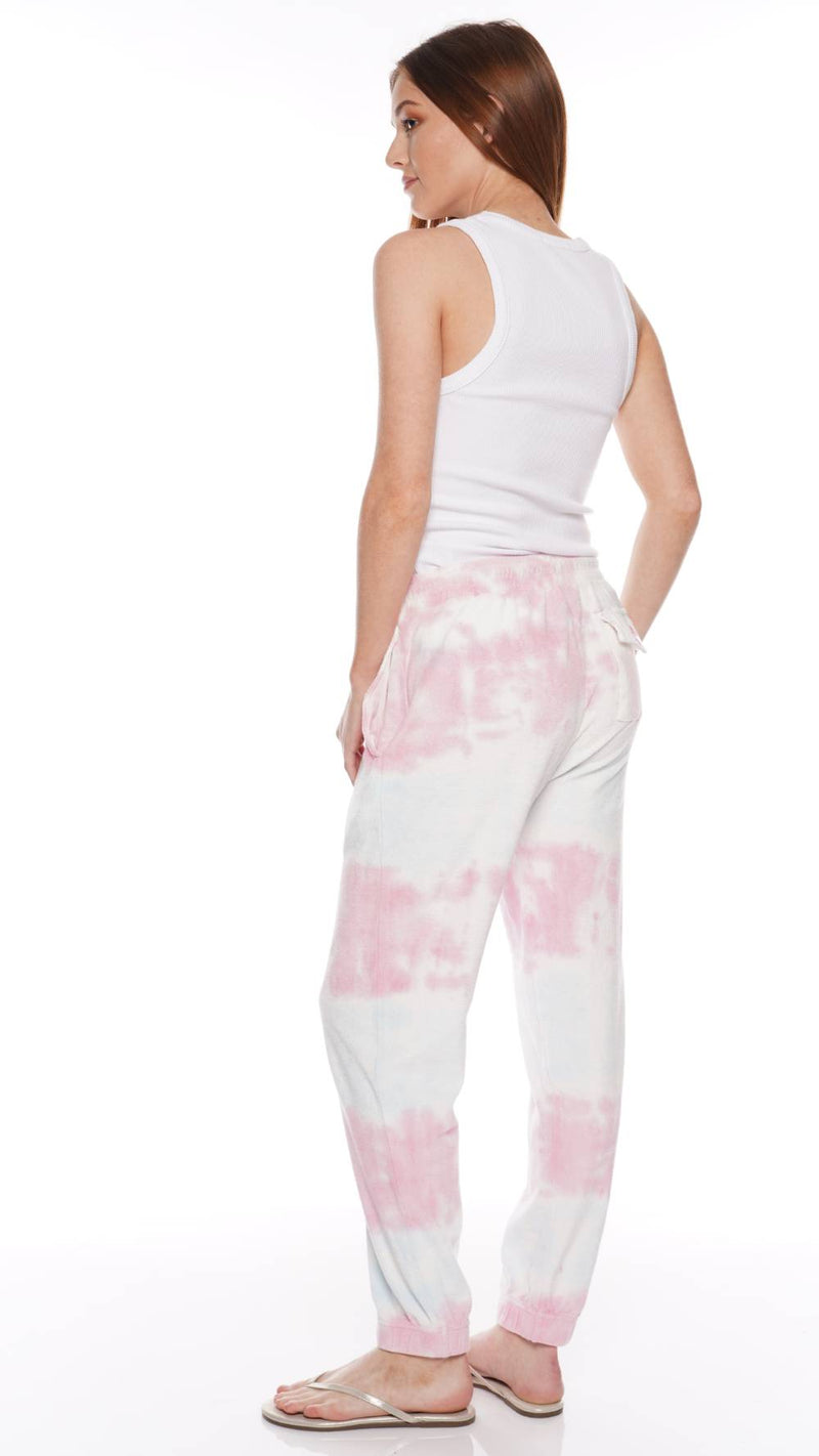 LoveShackFancy Santinella Beaded Tie-Dyed Cotton Terry Pants