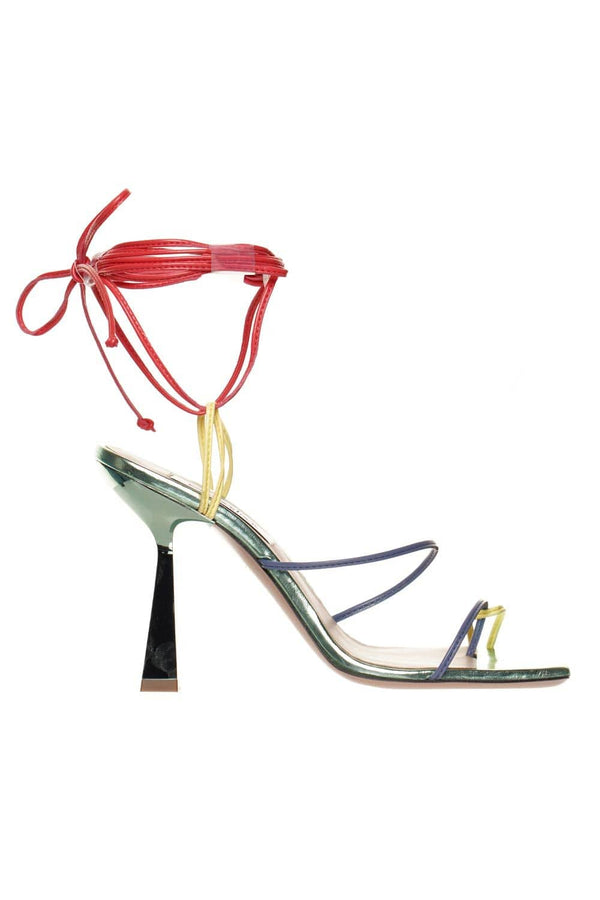 Multicolored Leather Heeled Sandal
