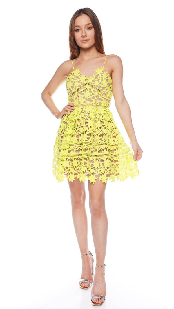 Lime Azaelea Lace Mini Dress