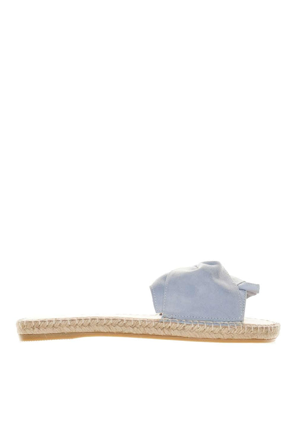 Hamptons Placid Blue Bow Flat Sandals
