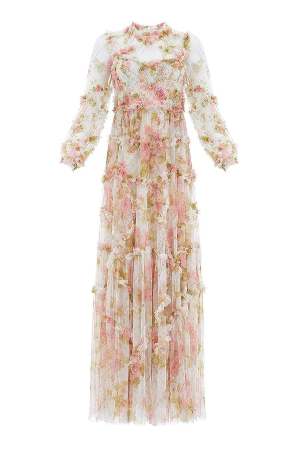 Needle & Thread Harlequin Rose Ruffle Long Sleeve Gown
