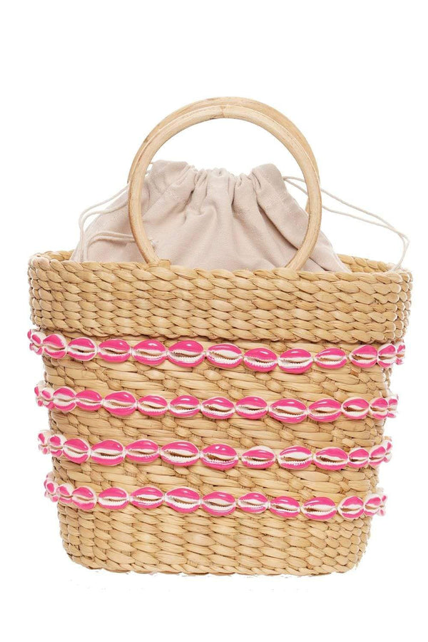 POOLSIDE - Mini Beach Bag With Hot Pink Painted Shells