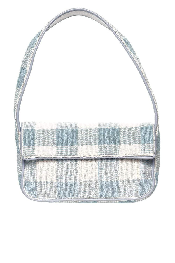 Staud Tommy Beaded Artic Blue and White Shoulder Bag