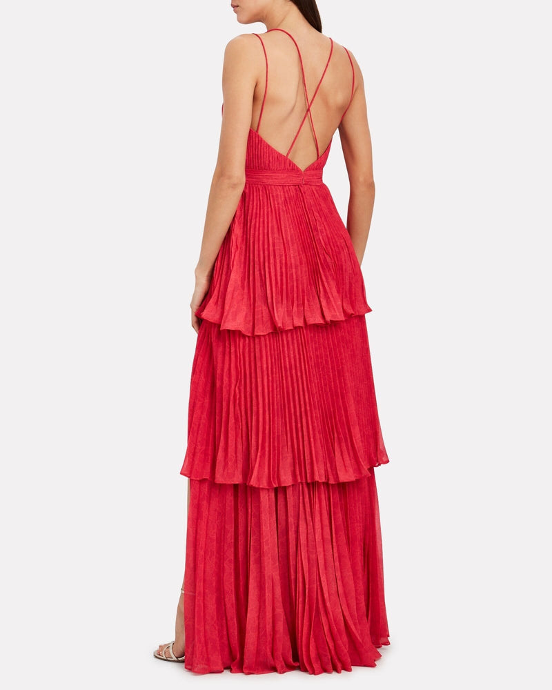 Dominique Tiered Pleated Maxi Dress