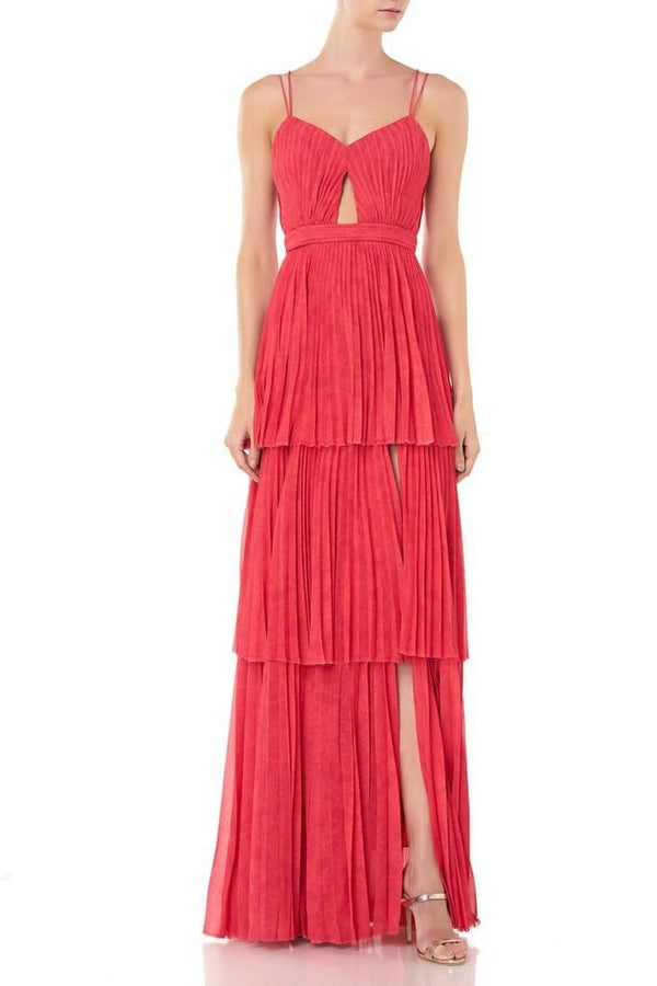 AMUR - Dominique Tiered Pleated Maxi Dress