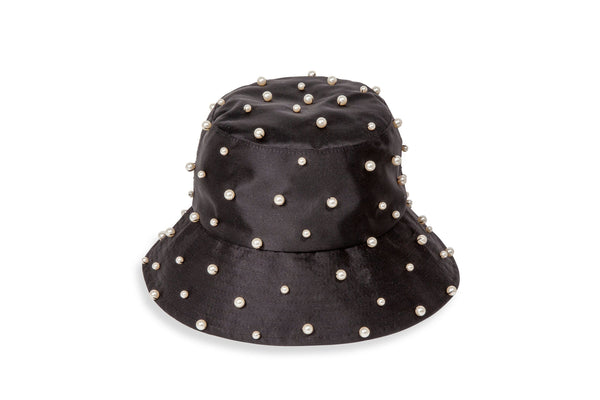 Jennifer Behr - Mallorie Black Pearled Bucket Hat