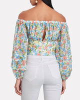 AMUR Alora Floral Off Shoulder Crop Top