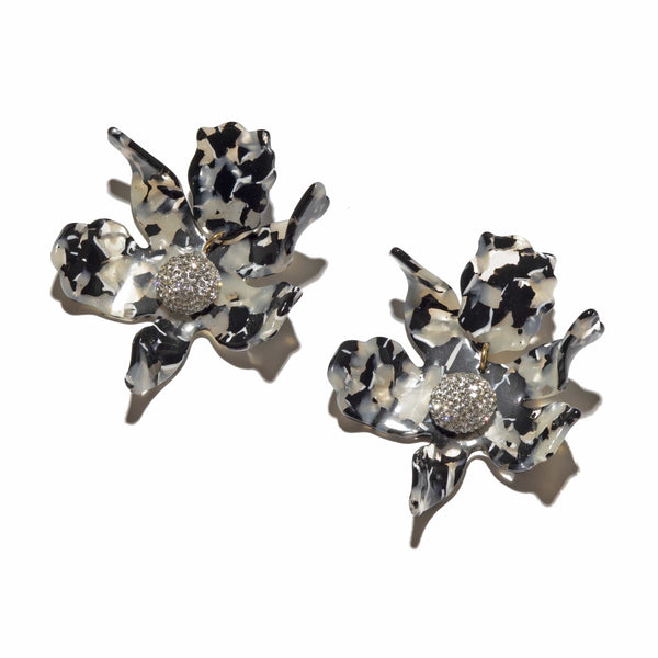 Lele Sadoughi Crystal Lily Noir Tortoise Earrings