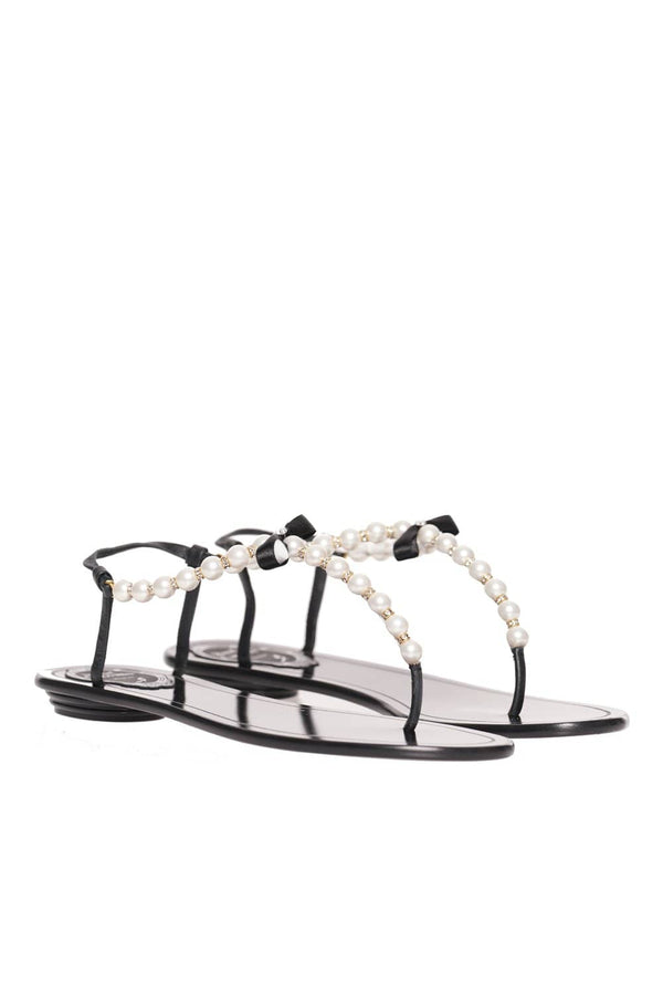 RENE CAOVILLA Eliza Black Leather Pearl Thong Sandal
